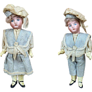 Antique sailor boy and girl dolls, pair of miniature bisque head dolls with provenance, Victorian clothing, rare dolls, minty