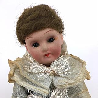 Antique German bisque head doll, miniature doll, girl doll, original clothing, Armand Marseille 390