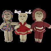 Vintage handmade folk art crocheted dolls