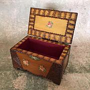 Vintage carved wooden box, presentation box, trinket box, doll accessory