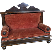 Antique dollhouse velvet and wood settee