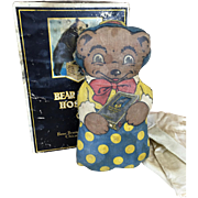 Antique advertising teddy bear in original box, Bear Brand Hosiery promotion