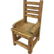 Doll size wooden primitive chair