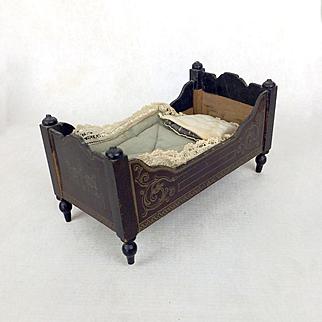 Antique wooden dollhouse bed, dollhouse furniture, Walterhausen