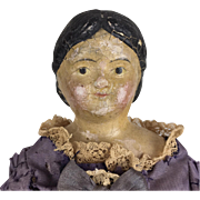 Antique Milliner's Model, early papier mache doll in lovely faded dress