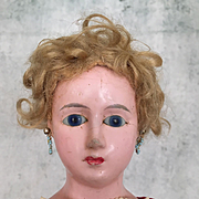 Antique wax-over doll, wax over papier mache doll, unusual fashion lady with lovely dress
