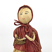 Vintage cornhusk red riding hood doll