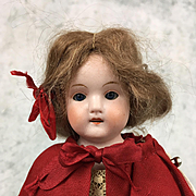 Antique all bisque miniature doll, little girl's face, well-dressed