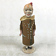 Papier Mache and Wood Clown Rattle