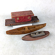Three vintage primitive wooden toy boats