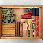 Vintage box of wooden architectural toy blocks