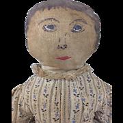 Handmade antique handpainted folk art cloth doll, rag doll, fabric doll