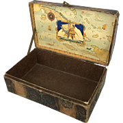 Antique small doll trunk