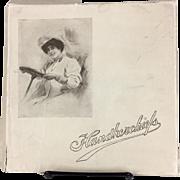 Handkerchief box with Gibson Girl and hankies