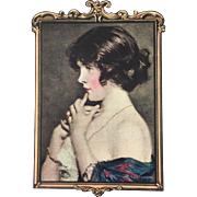 Handkerchief box with beautiful girl and hankies