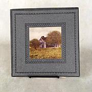 Handkerchief box with image of farmhouse plus hankies