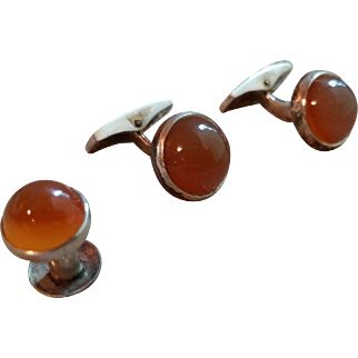 Kalevala Koru 916 Silver With Honey Colored Carnelian Cufflinks & Tie Tack