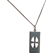 Vintage Modernist Scandinavian Kupittaan Kulta Sterling Silver Gilded Cross Pendant Necklace Womens/Mens