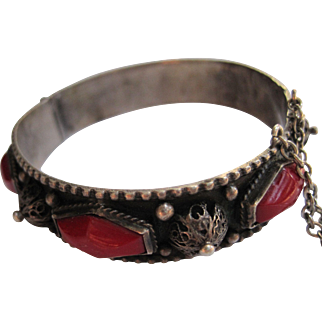 Lovely Vintage Dome and Red Glass Silver Berber Bangle