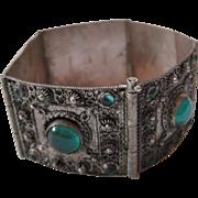 Vintage Turkish 900 Silver Bracelet with Green Glass