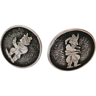 Vintage Turkish Folk Character Hodja Silver Button Clip On Earrings