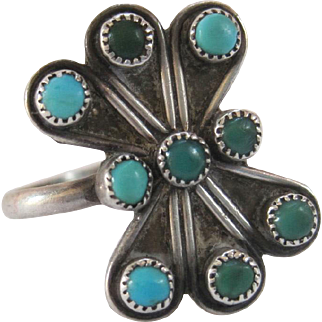 Vintage Southwestern Sterling Silver and Turquoise Ring