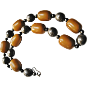 Vintage 800 Silver and Butterscotch Bakelite Beaded Necklace
