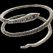 Vintage 900 Silver Egyptian Snake Double Coil Bracelet