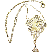 Vintage Egyptian 800 Silver Filigree Pendant Necklace - Red Tag Sale Item