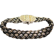 Vintage Braided Two Tone Sterling Silver Turkish Bracelet
