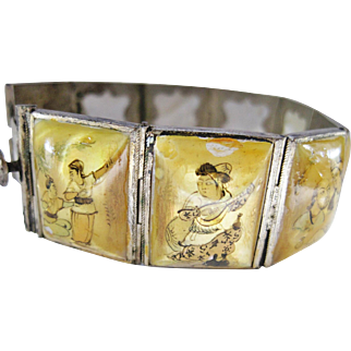 Hand Painted Mother or Pearl Story Bracelet from the Middle East