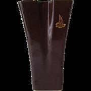 Red Wing Art Pottery Vase, Tall Dark Brown Vase