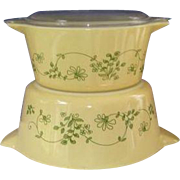 2 Pyrex Shenandoah Round Casserole  Bowls Cinderella Handles, One Lid