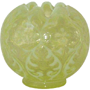 Northwood Vaseline Glass Opalescent Spanish Lace Rose Bowl Daisy and Fern with Ruffled Edge.