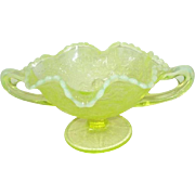 Fenton Yellow Opalescent Vaseline Glass Basket Pears and Cherries