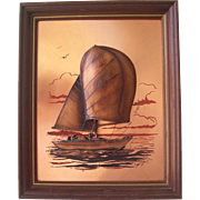 John Louw Copper Sail Boat Sail Boat in Relief Signed