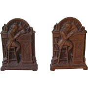 2 Syroco Book Ends, Man Reading Vintage Home Setting