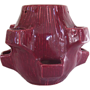 McCoy Burgundy Strawberry Hanging Planter, Ca. 1950's