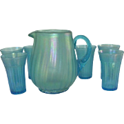 Diamond Glass Ware Blue Harding Opalecent Stretch Pitcher with 6 Tumblers