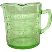 "Green Depression Glass One Cup Measuring Cup ""Kellogg'"""