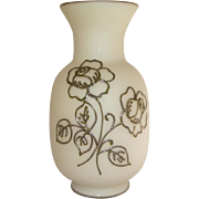 Vintage Tiffin Off White Vase with Silver Overlay