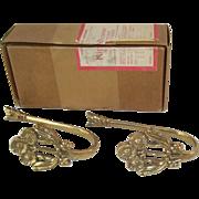 Brass Drapery Holdback Rods in Original Box, Kirsch Curtain Hold Backs,