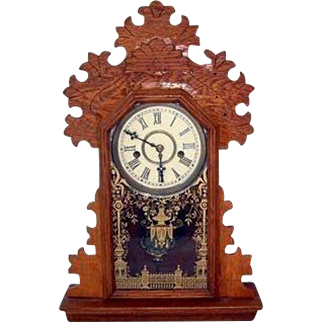 Arts and Crafts Wood Table Top Setting Clock