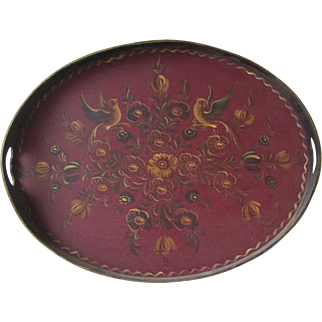 Norway Scandinavian Rosemaling Hand Painted oval serving tray.