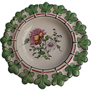Lovely Vintage French Faience Plate with Pink and Green Accent