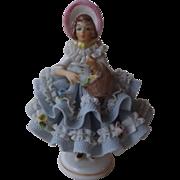 Sweet Vintage Dresden Lace Dress Figurine