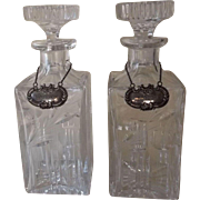 Pair of Exquisite Cut Glass Decanters with Sterling Silver Tags