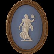 Antique Wedgwood Blue Jasperware Plaque with Classical Figure