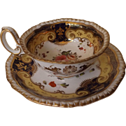Early 19th Century H & R Daniel Teacup and Saucer - Pattern 4058