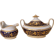 New Hall Early 19th Century English Cream and Sugar Pattern #692